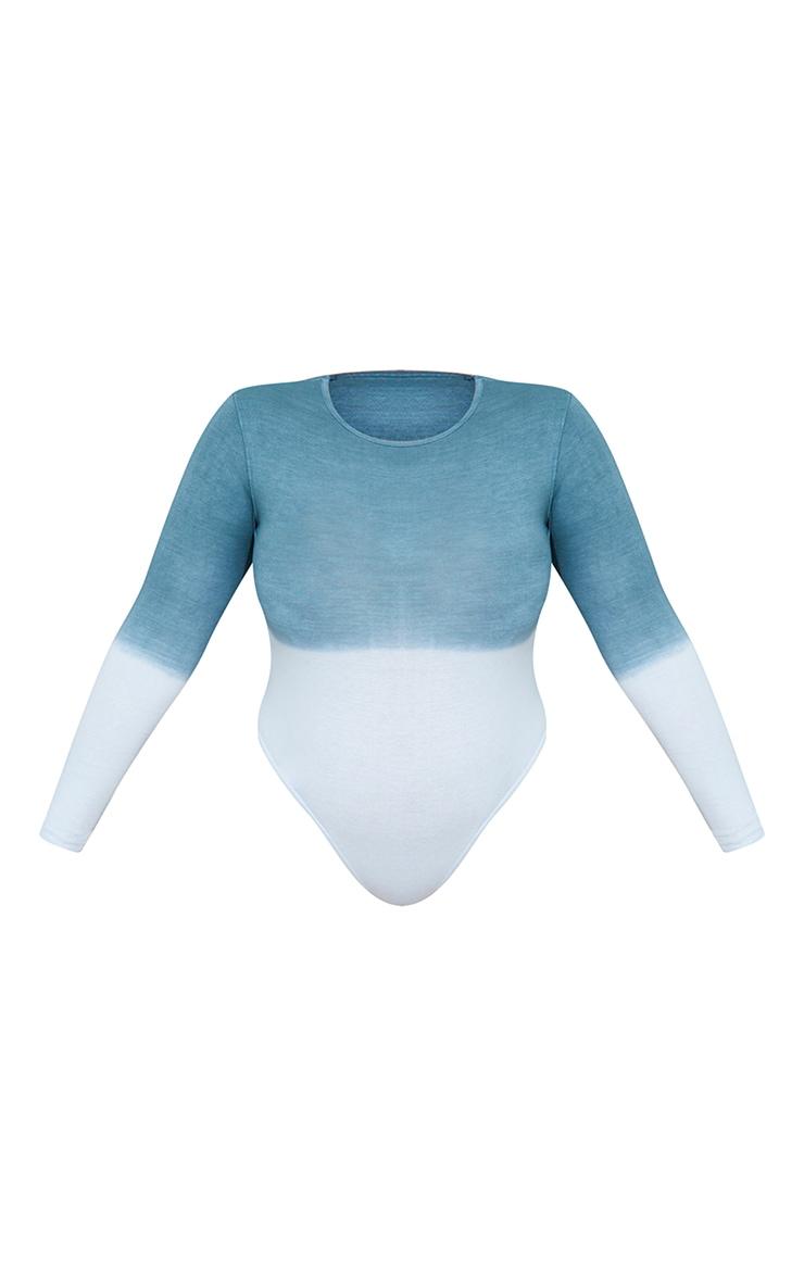 Plus Blue Ombre Cotton Long Sleeve Bodysuit 5