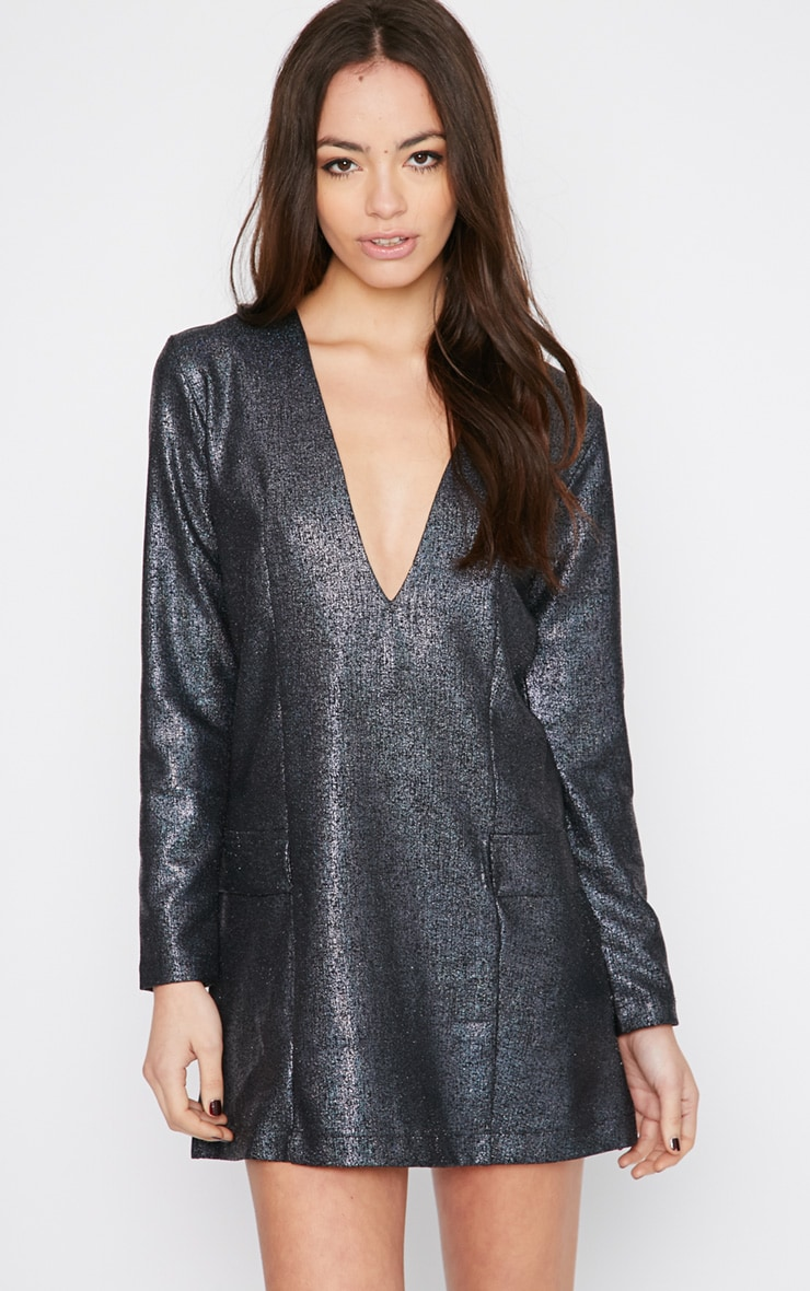 Jemima Black Iridescent Blazer Dress 1