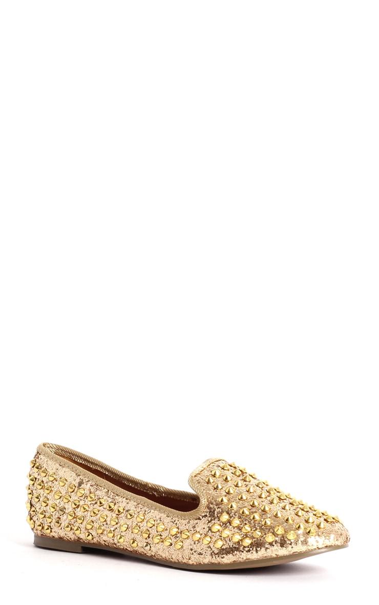 Aleta Gold Glitter Stud Slipper   3