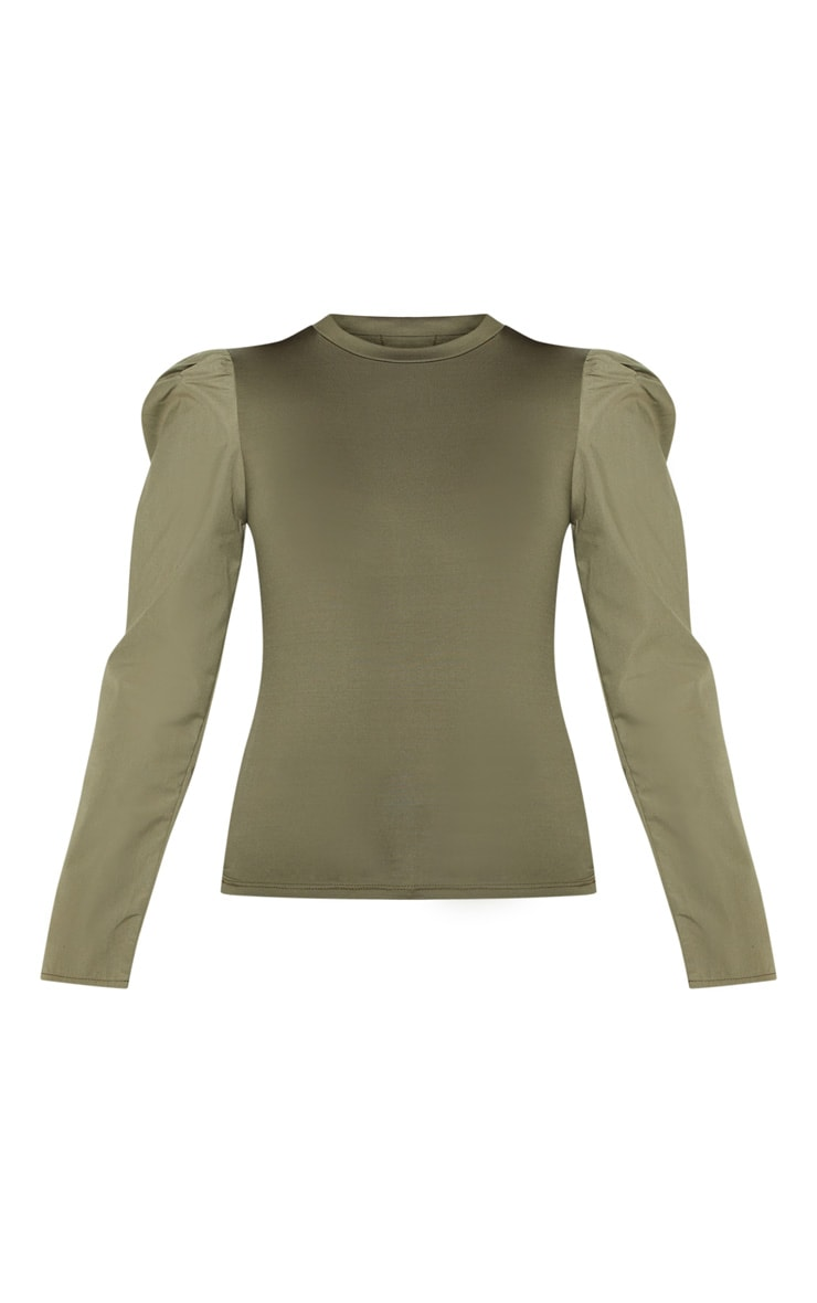 Khaki Long Sleeve Puff Shoulder Top 3