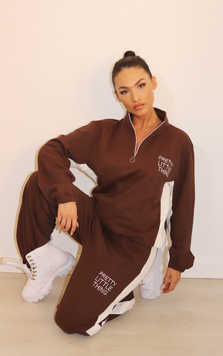 PRETTYLITTLETHING Chocolate Brown Contrast Stripe Funnel Neck Zip Up Sweater 3