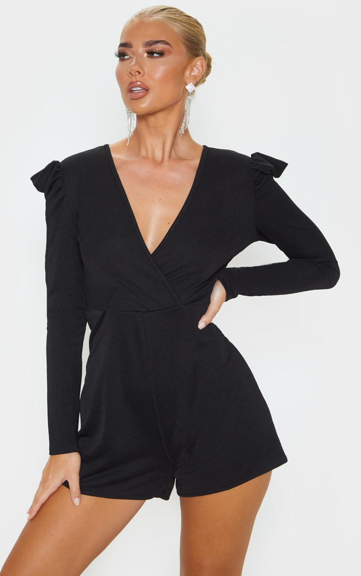 Black Long Puff Sleeve Wrap Playsuit 1