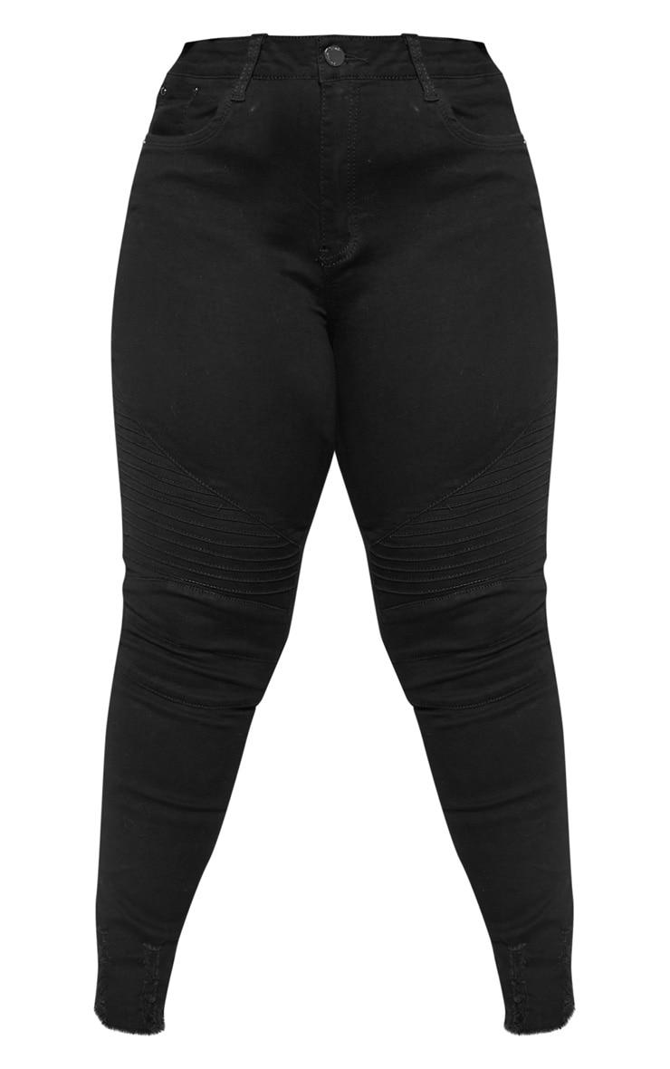 Plus Black Biker Detail Skinny Jean  3