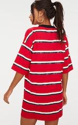 Recycled Red Oversized Contrast Stripe Boyfriend T Shirt Dress 2