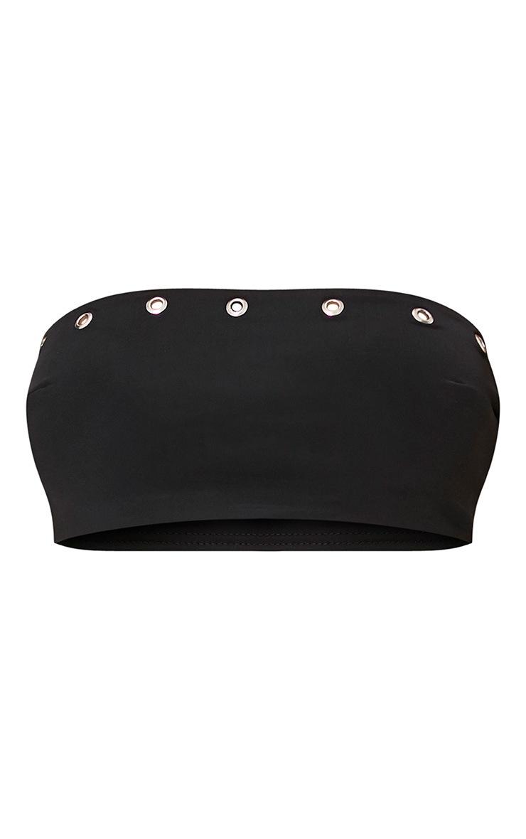 Black O-Ring Detail Bandeau Bikini Set  3