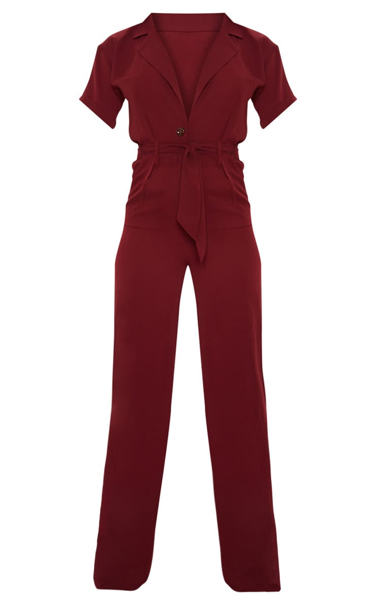 Tall Burgundy Tailored Tie Waist Wide Leg Jumpsuit 3
