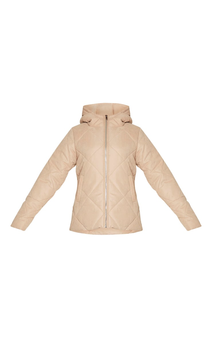 PRETTYLITTLETHING Stone Peach Skin Diamond Quilted Oversized Puffer 5