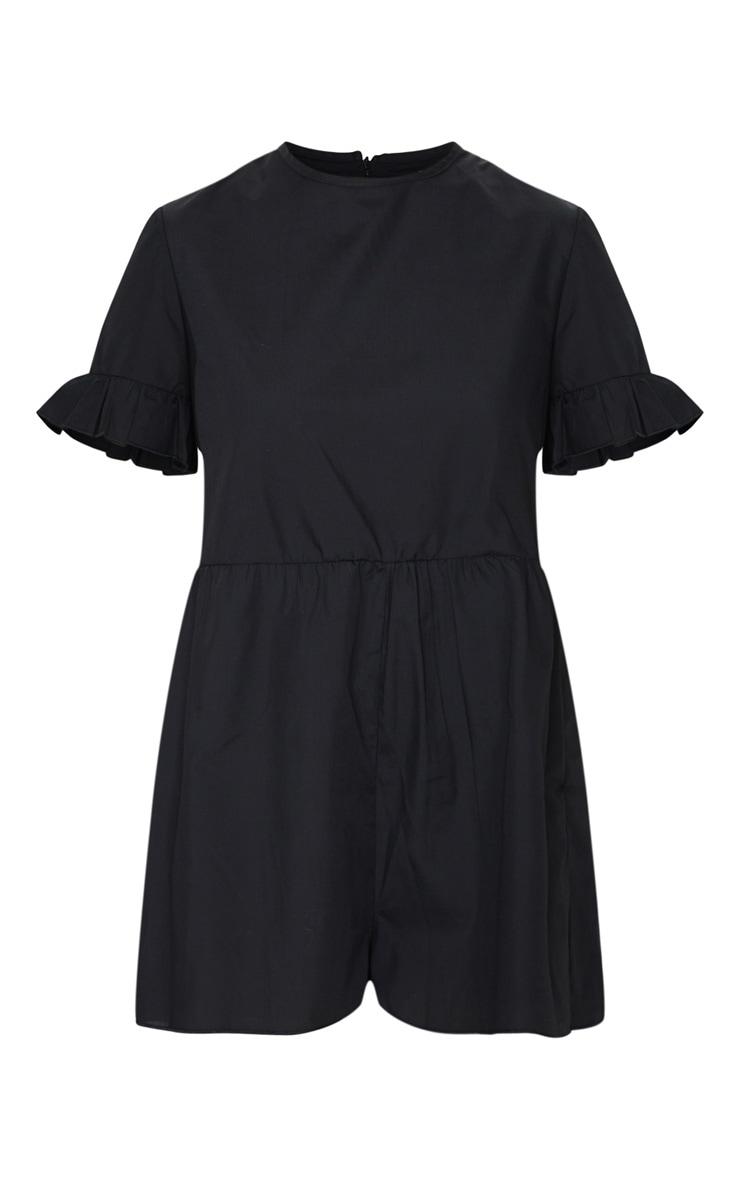 Petite Black Oversized Woven Smock Playsuit 6