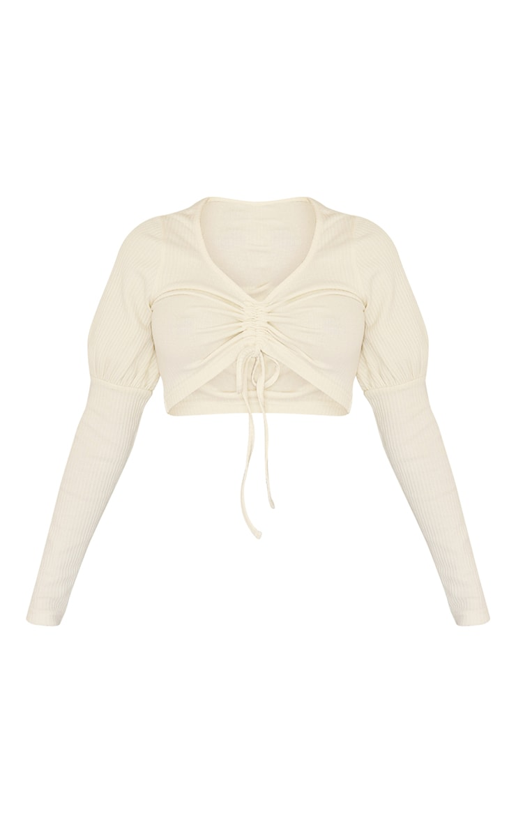 Petite Cream Ruched Front Ribbed Long Sleeve Crop Top 5