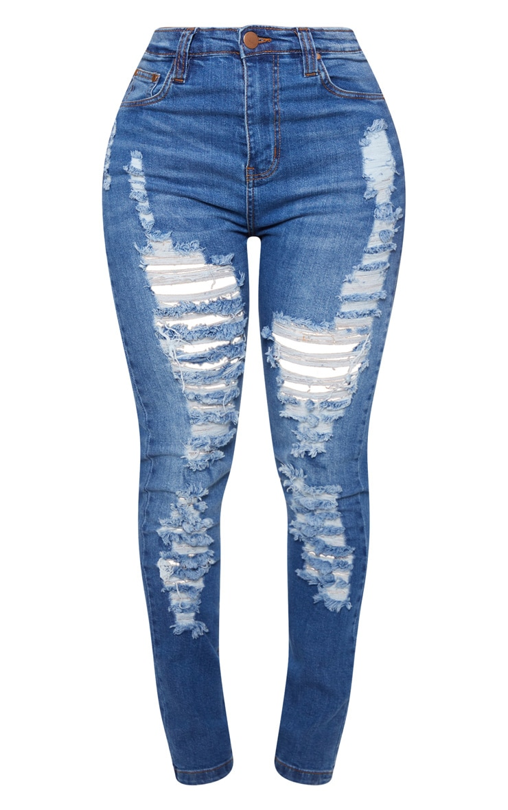 Shape High Waist Mid Wash Extreme Rip Skinny Jeans 3