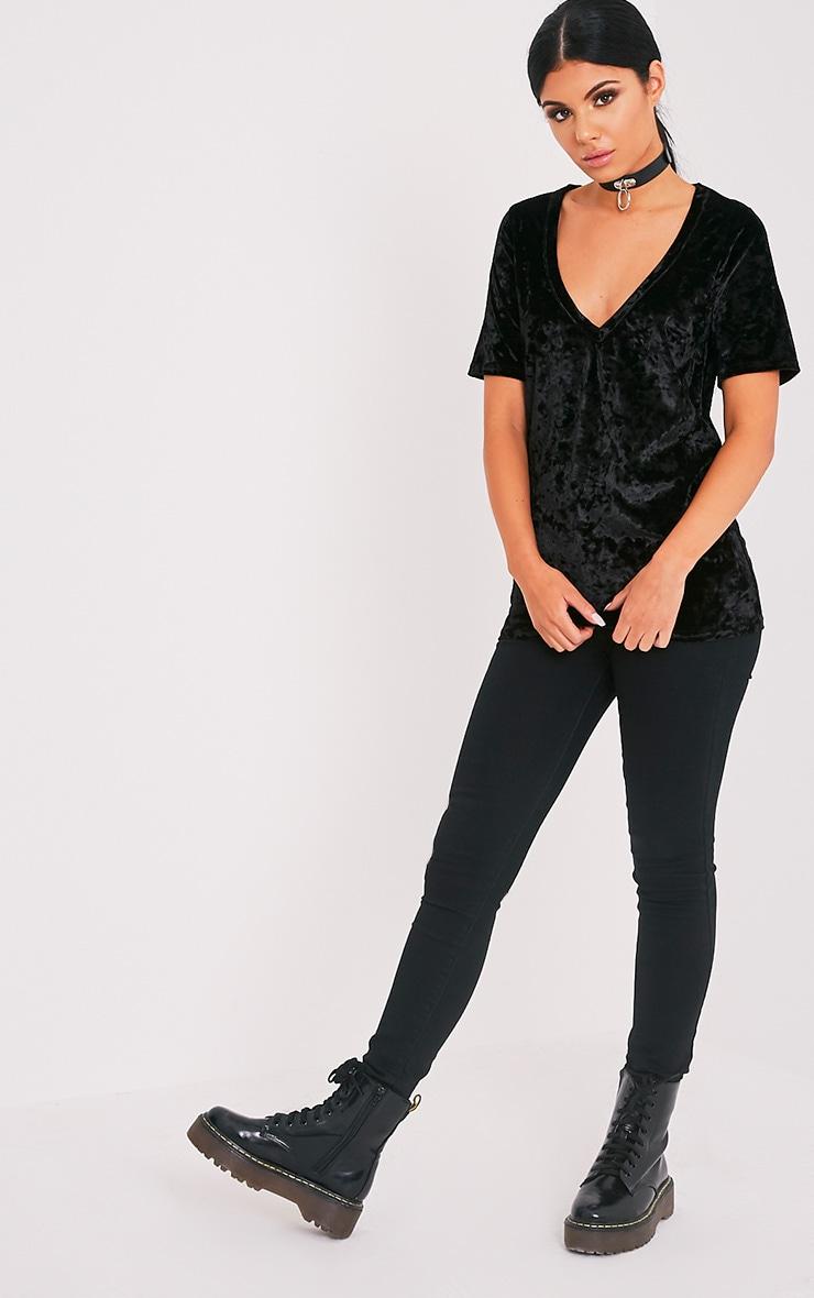 Suri t-shirt surdimensionné côtelé en velours noir 5