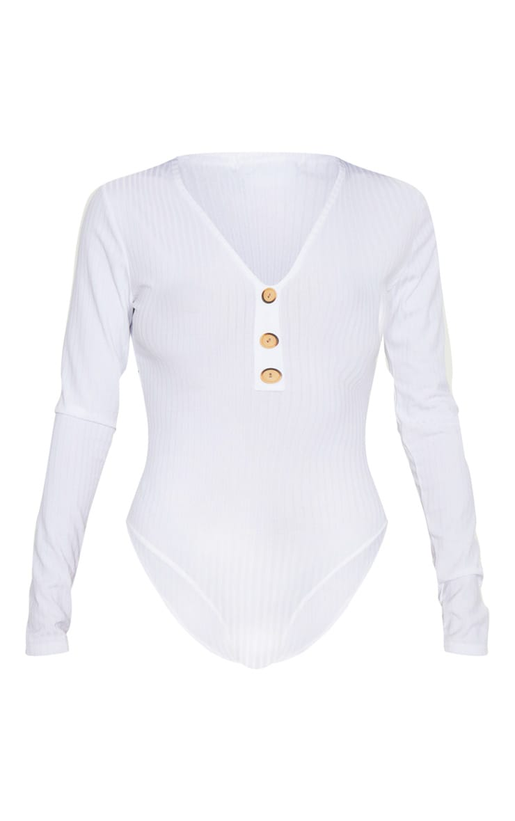White Long Sleeve Button Rib Bodysuit 3