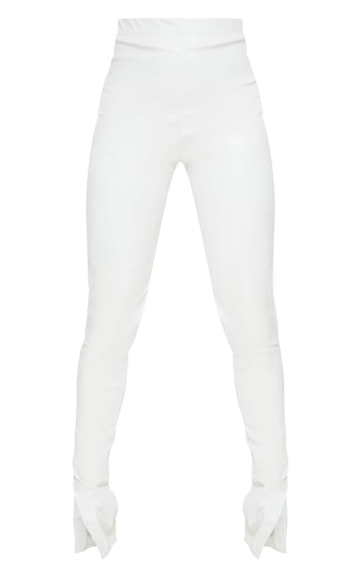 Petite Cream Faux Leather Split Hem Leggings 5
