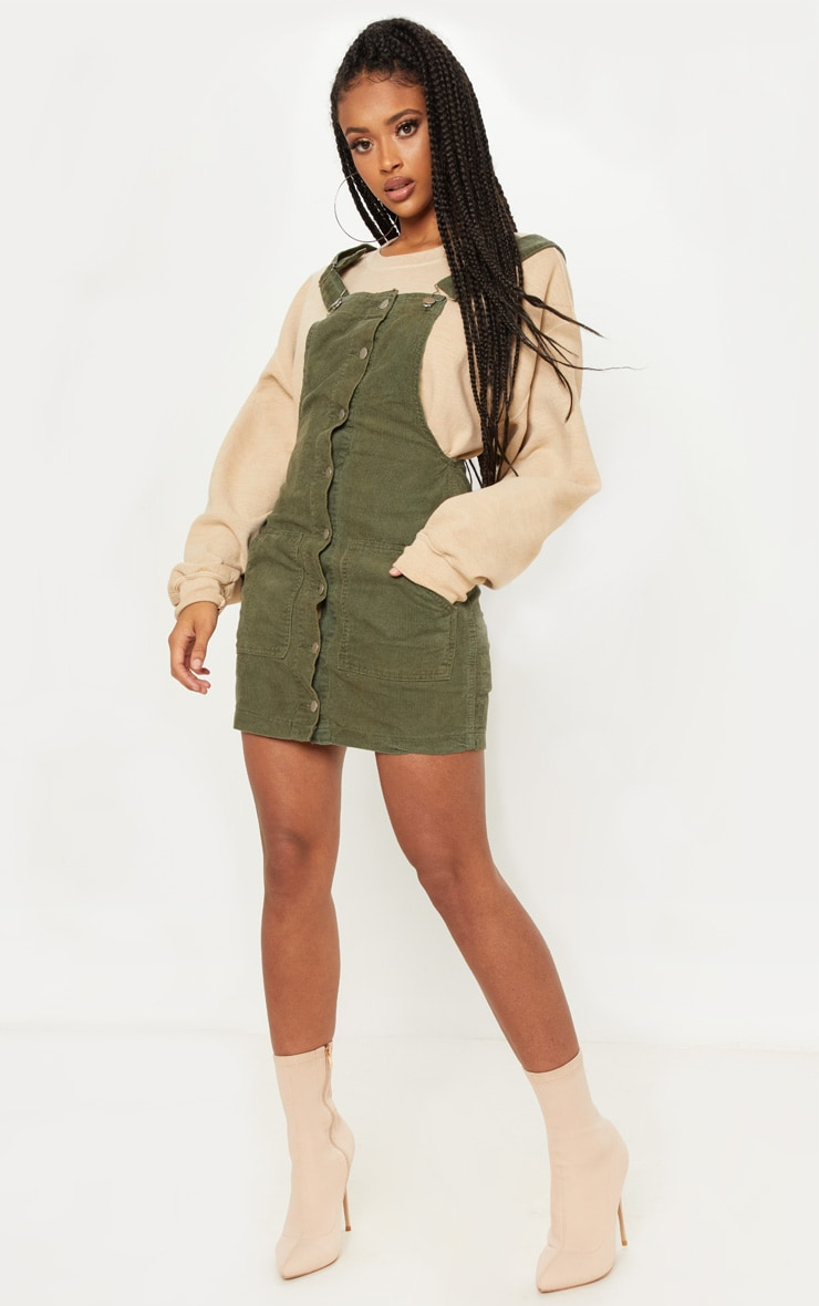 Khaki Cord Pinafore Dress