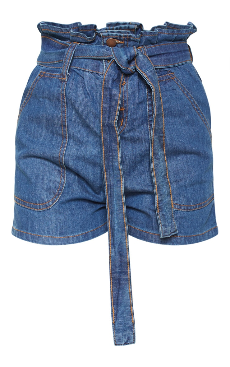 Mid Wash Paperbag Denim Shorts  3