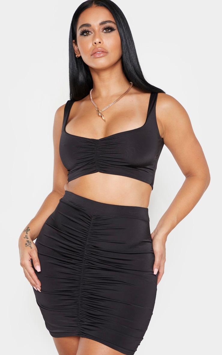 Shape Black Ruched Front Mini Skirt 1