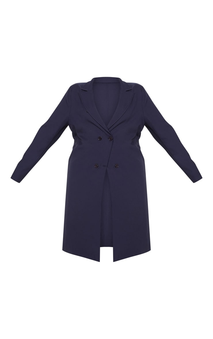 Plus Navy Woven Oversized Trench Coat 3
