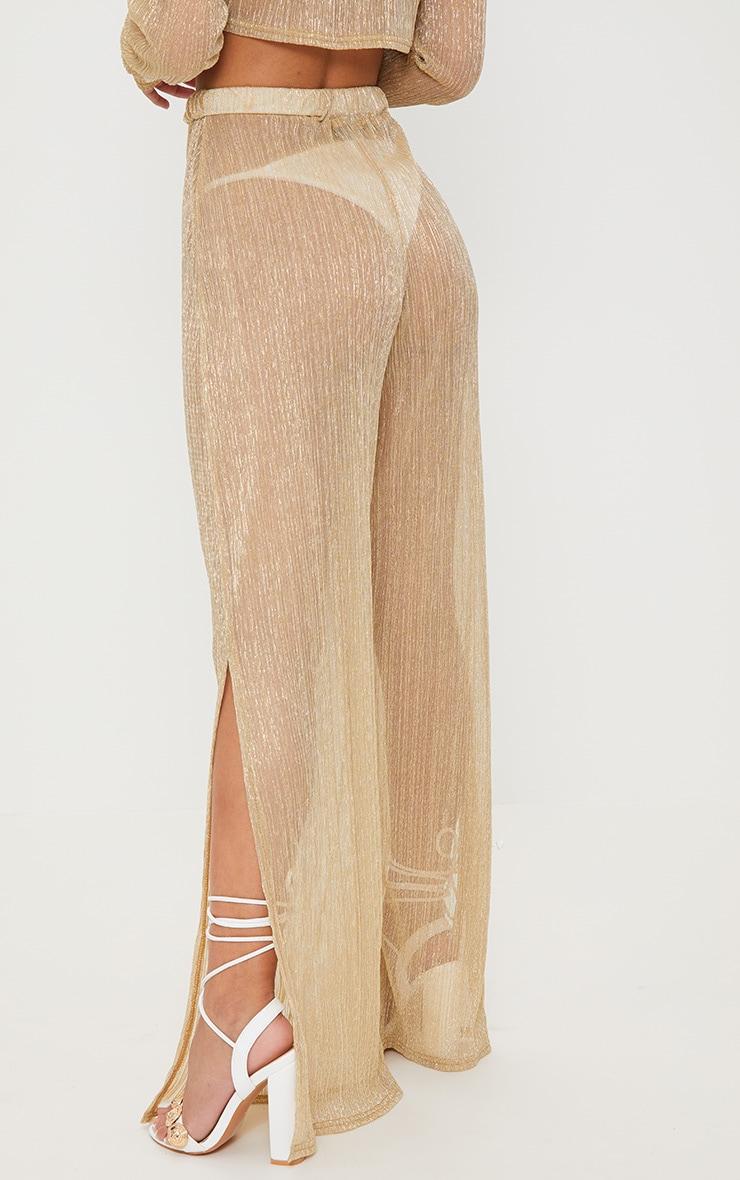 Petite Gold Metallic Sheer Wide Leg Trousers 4