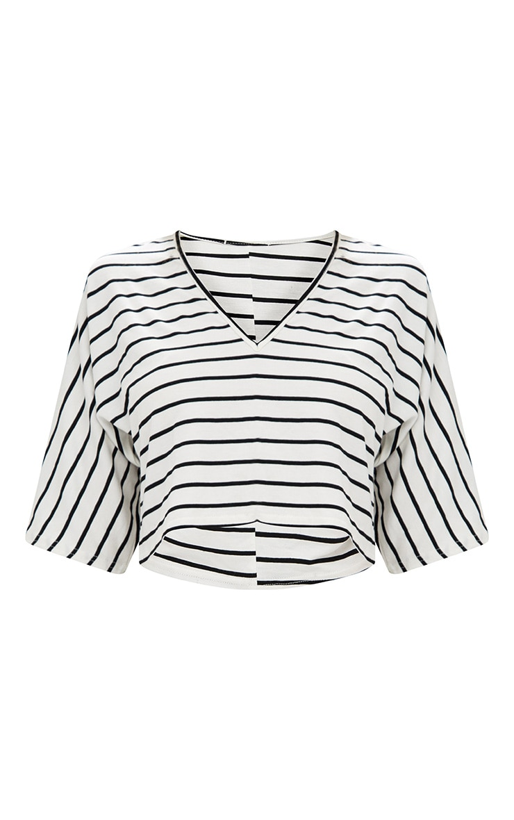 Cream Stripe V Neck Crop Top 3