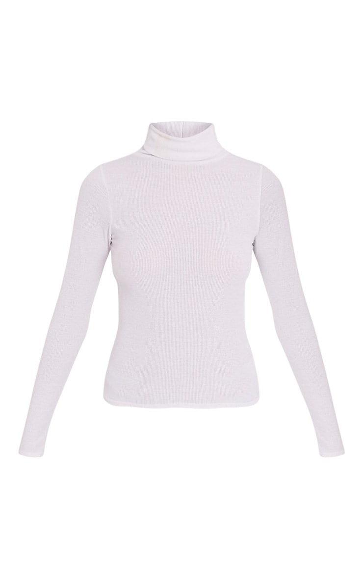 Basic White Ribbed Roll Neck Top 3