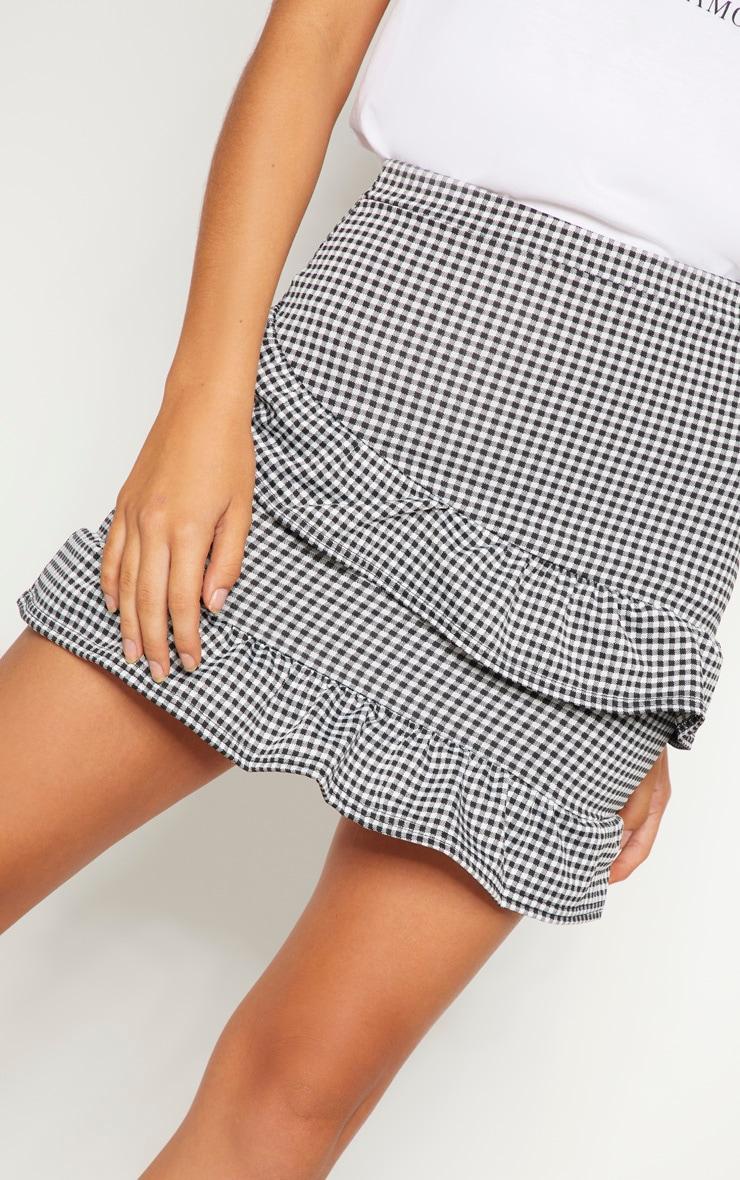 Black Gingham Check Frill Mini Skirt 6