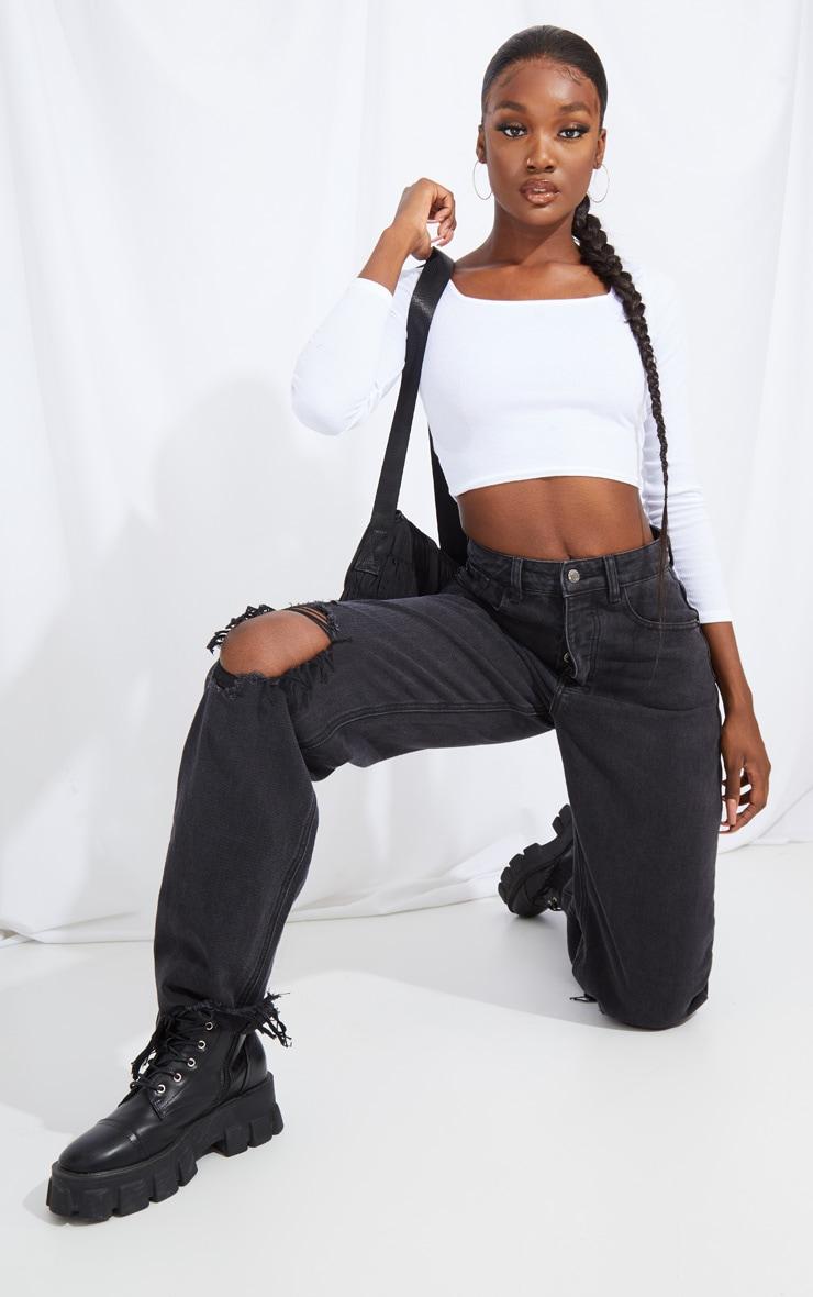 PRETTYLITTLETHING Tall Washed Black Distressed Hem Boyfriend Jeans 4