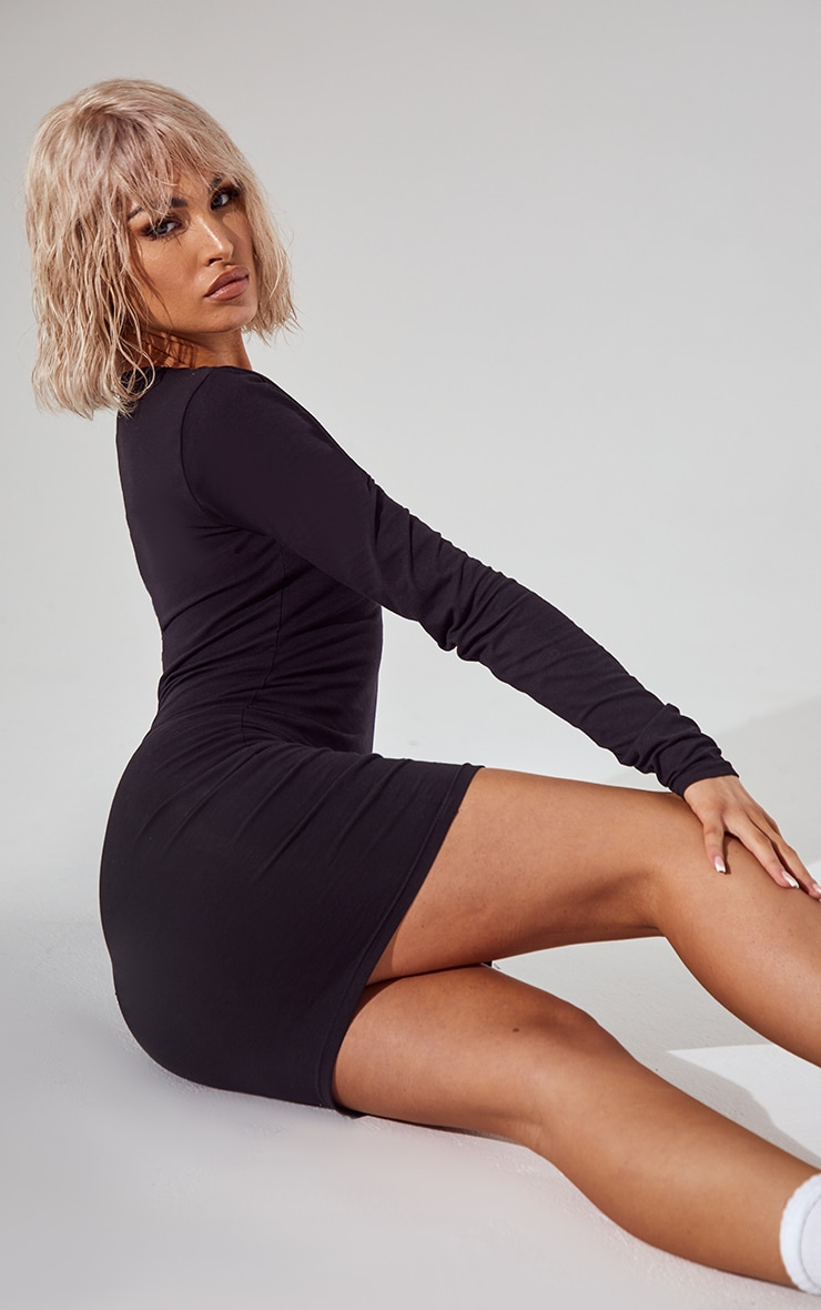 Essential Black Cotton Blend Long Sleeve Bodycon Dress 4