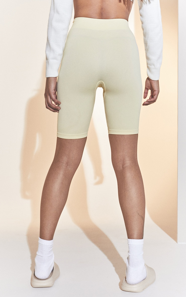 Cream Structured Contour Rib Cycle Shorts 3