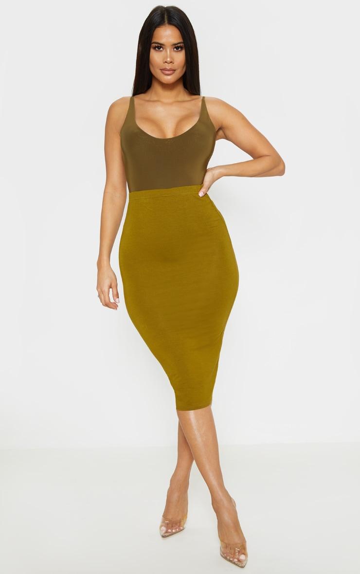 Basic Pale Olive Midi Skirt 1