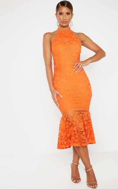 e48755005bd Bright Orange Lace High Neck Flute Hem Midi Dress