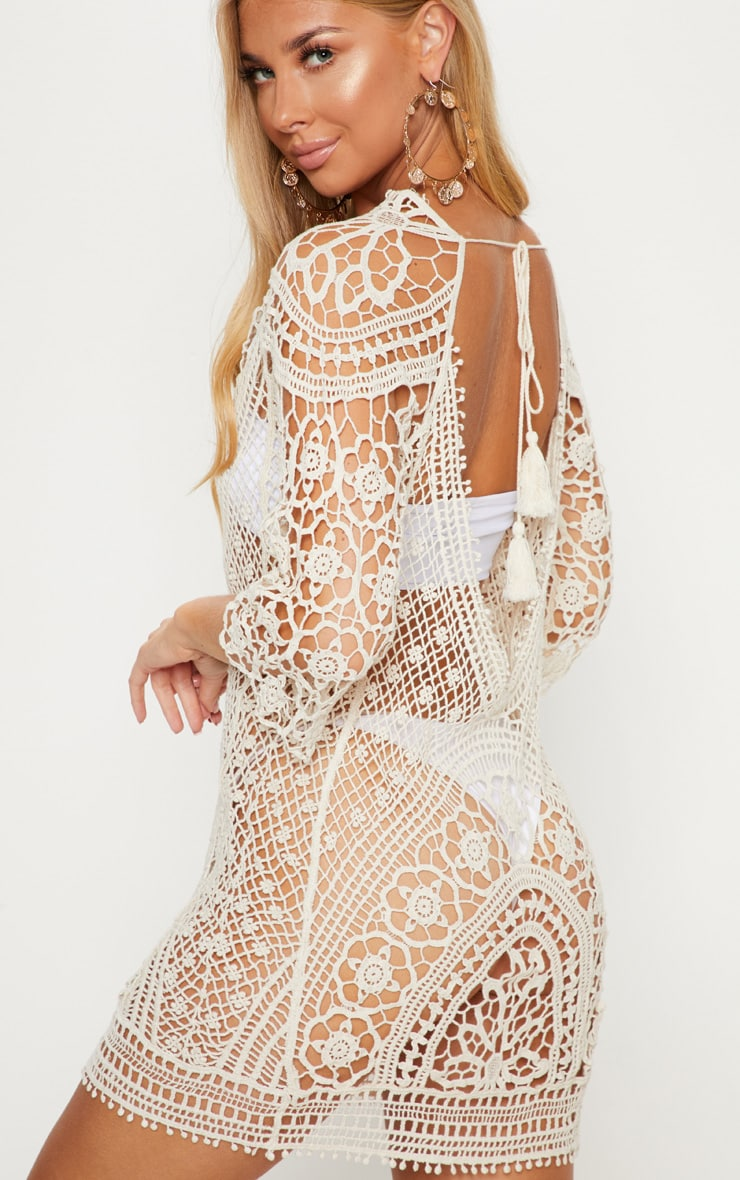 Cream Crochet Low Back Beach Dress 5
