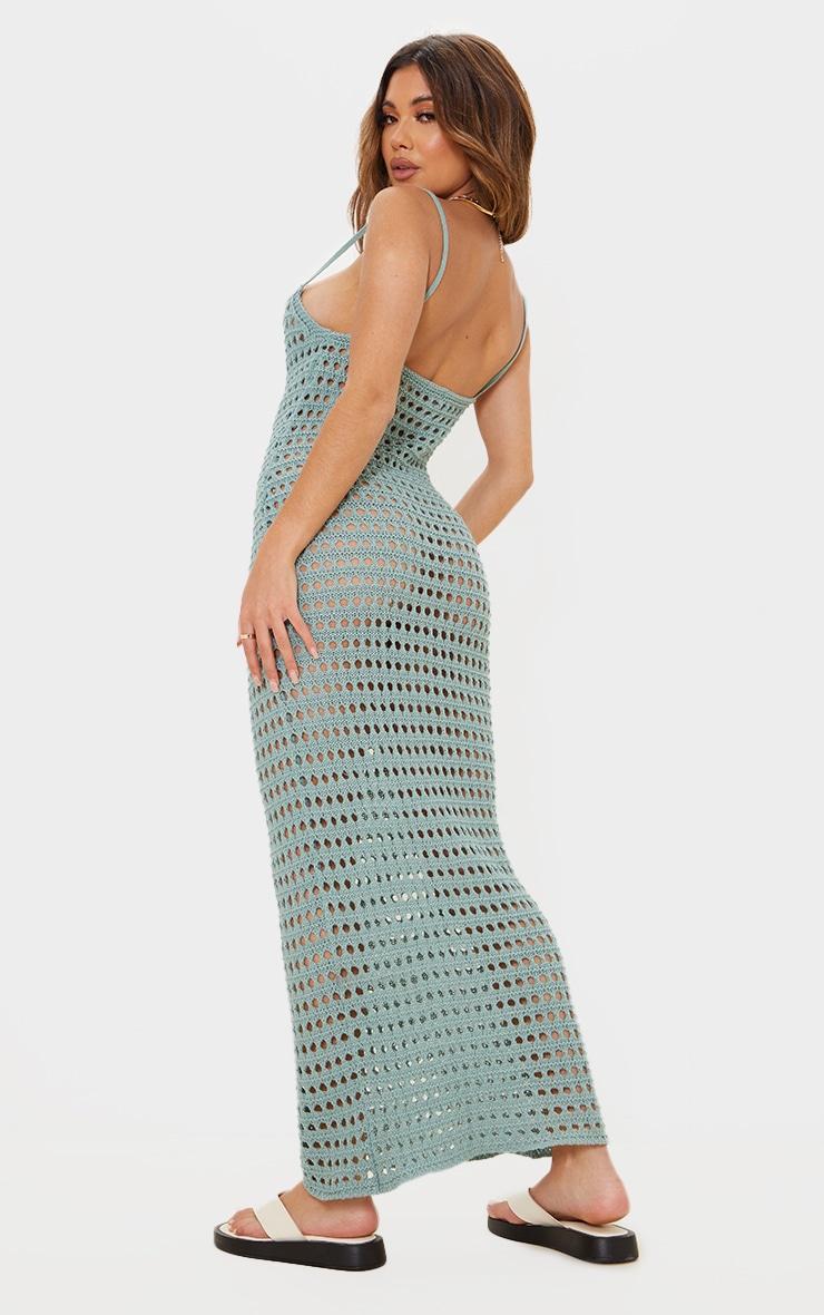 Sage Green Strappy Crochet Maxi Dress 2