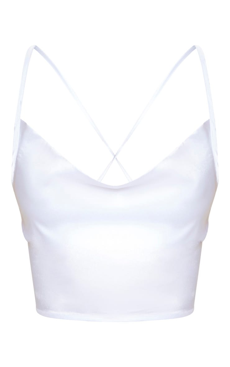 White Satin Strappy Back Cowl Neck Cami 4