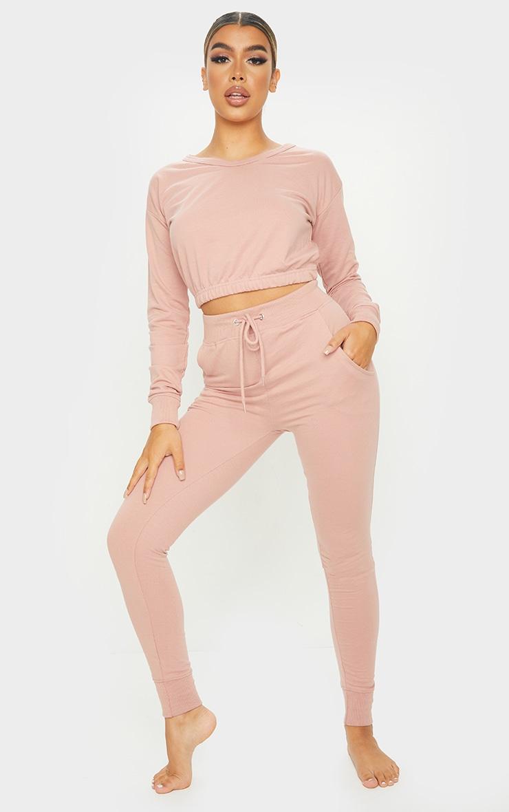Pink Long Sleeve Elastic Hem Cropped Sweat & Jogger Set 4