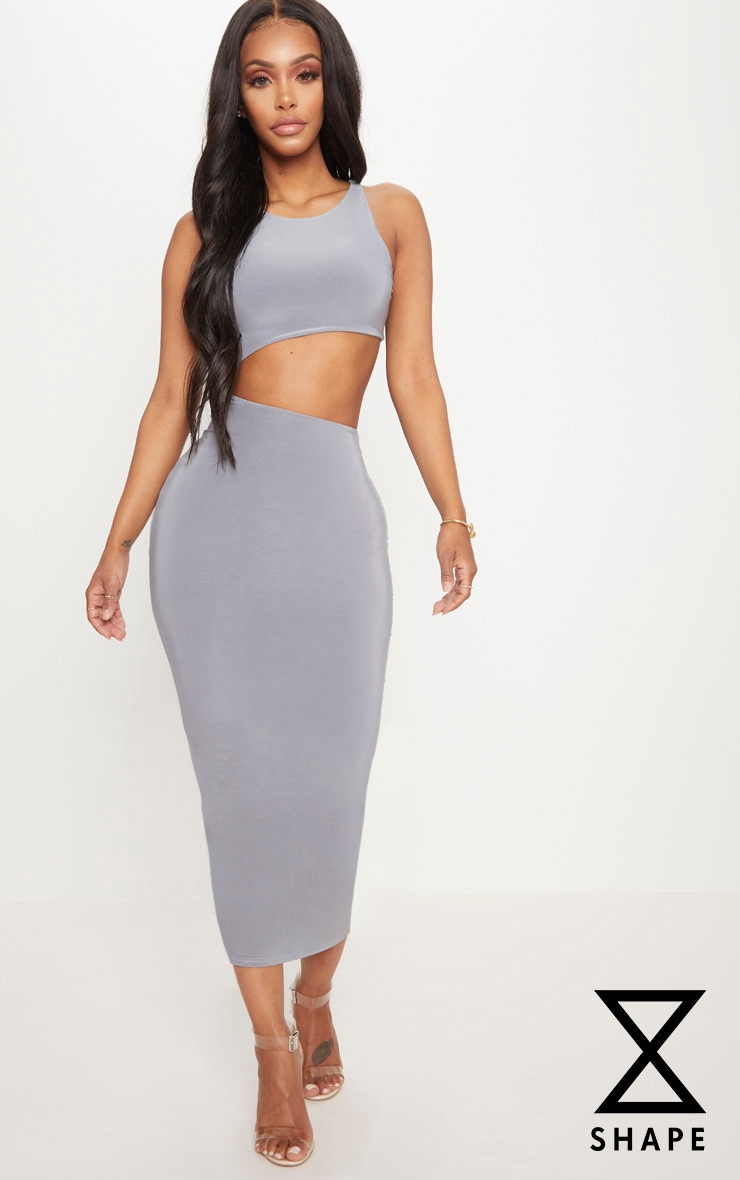 Shape Ice Grey Extreme Cut Out Midaxi Dress