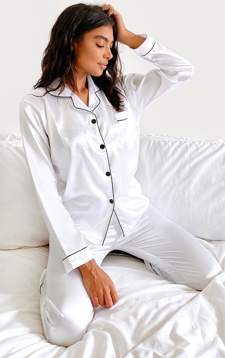 White Piping Detail Long Satin Pj Set 2
