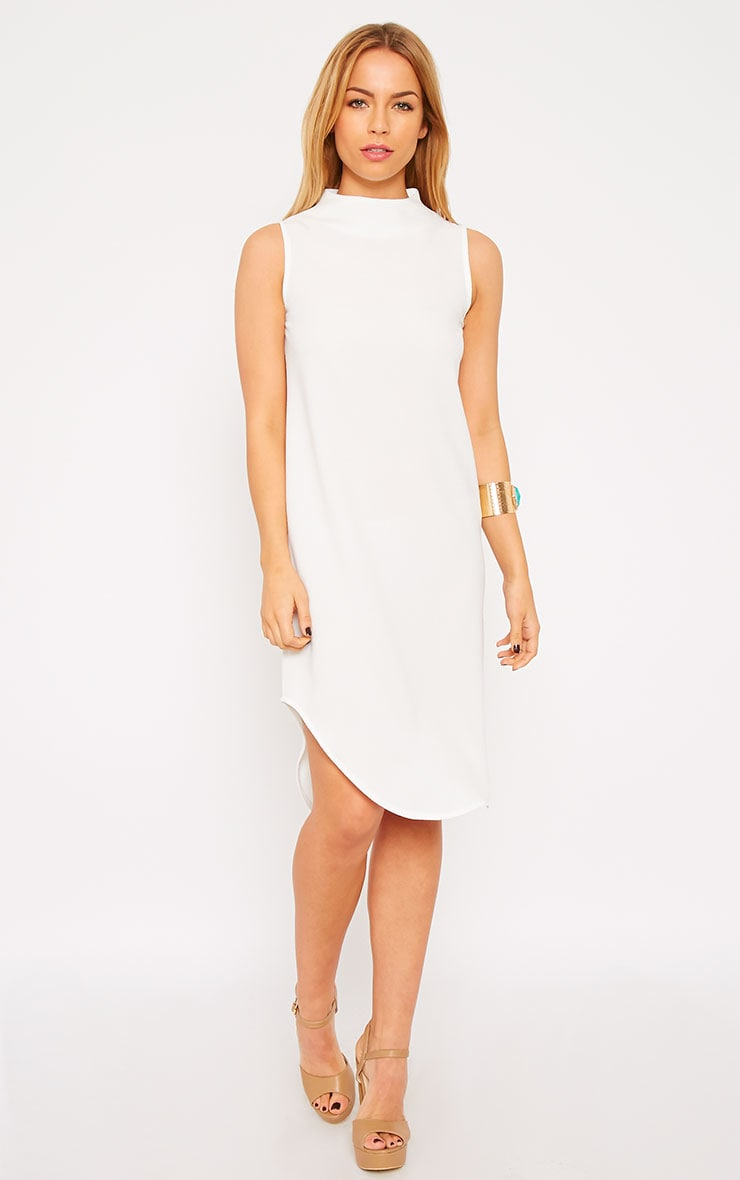 May White Crepe High Neck Dip Hem Shift Dress 4