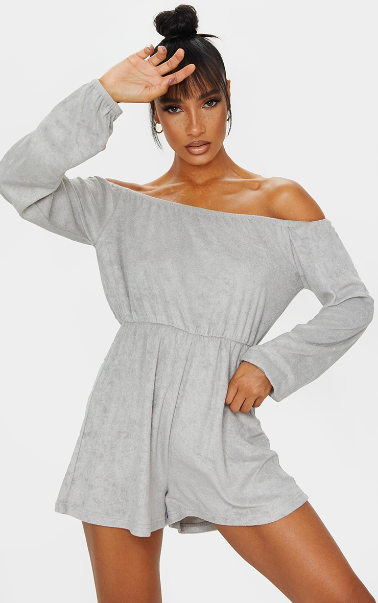 Grey Towelling Bardot Playsuit 1