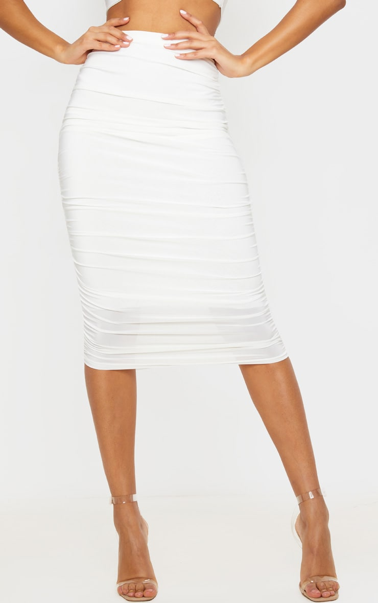 White Slinky Second Skin Ruched Midi Skirt 2