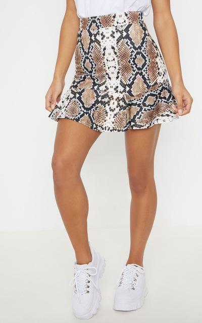 Taupe Verity Snake Print Flippy Hem Mini Skirt