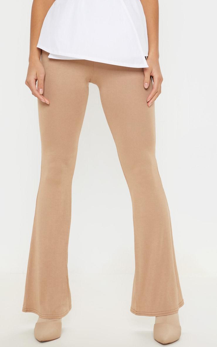 Petite Camel  Basic Flare Leg Pants 2