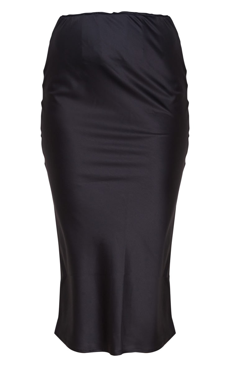 Black Satin Midi Skirt 5