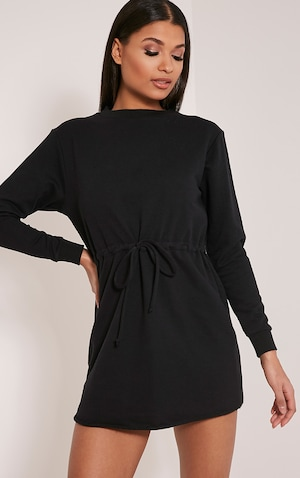 Demmi Black Tie Waist Sweater Dress