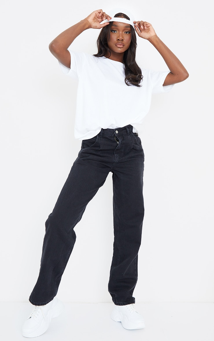 Tall Washed Black Seam Detail Wide Leg Jeans 1