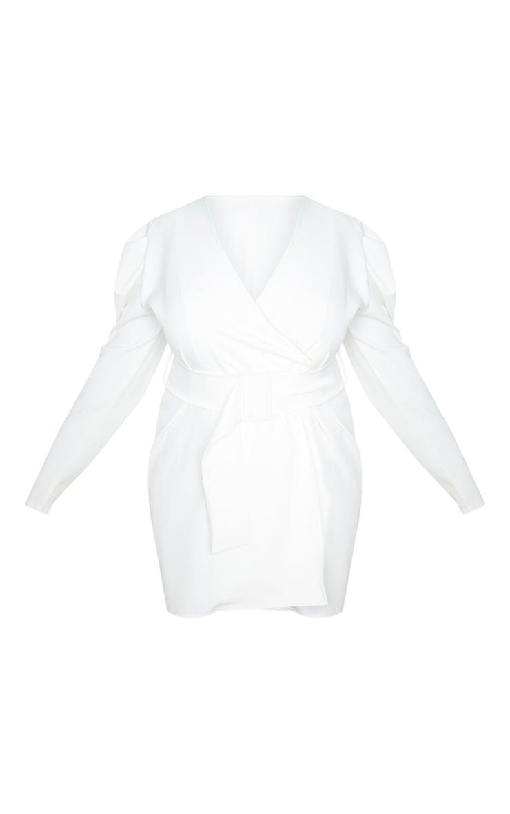 Plus White Puff Sleeve Blazer Dress 3