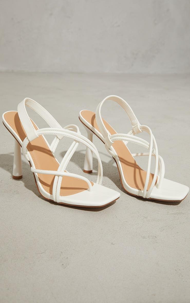White PU Knot Toe Loop Slingback High Flare Heel Sandals 3