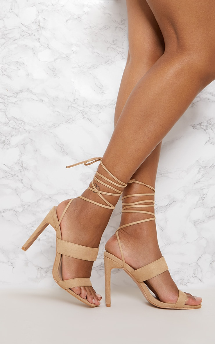Nude Ankle Lace Up Mule Heel 1