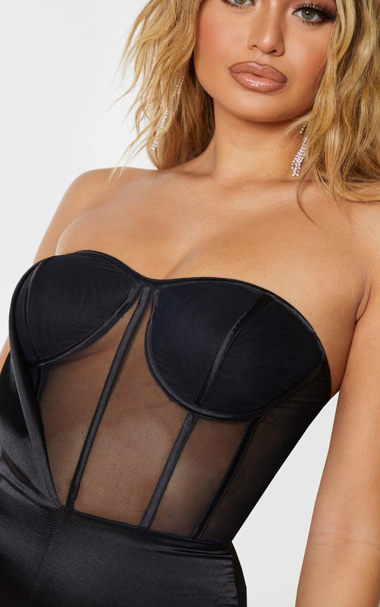 Combinaison satinée noire à corset mesh 4