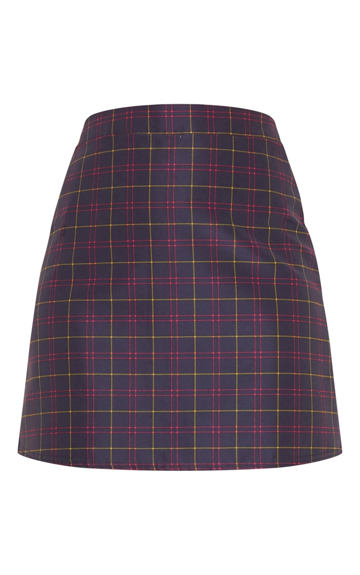 Maroon Woven Check A Line Skirt 3