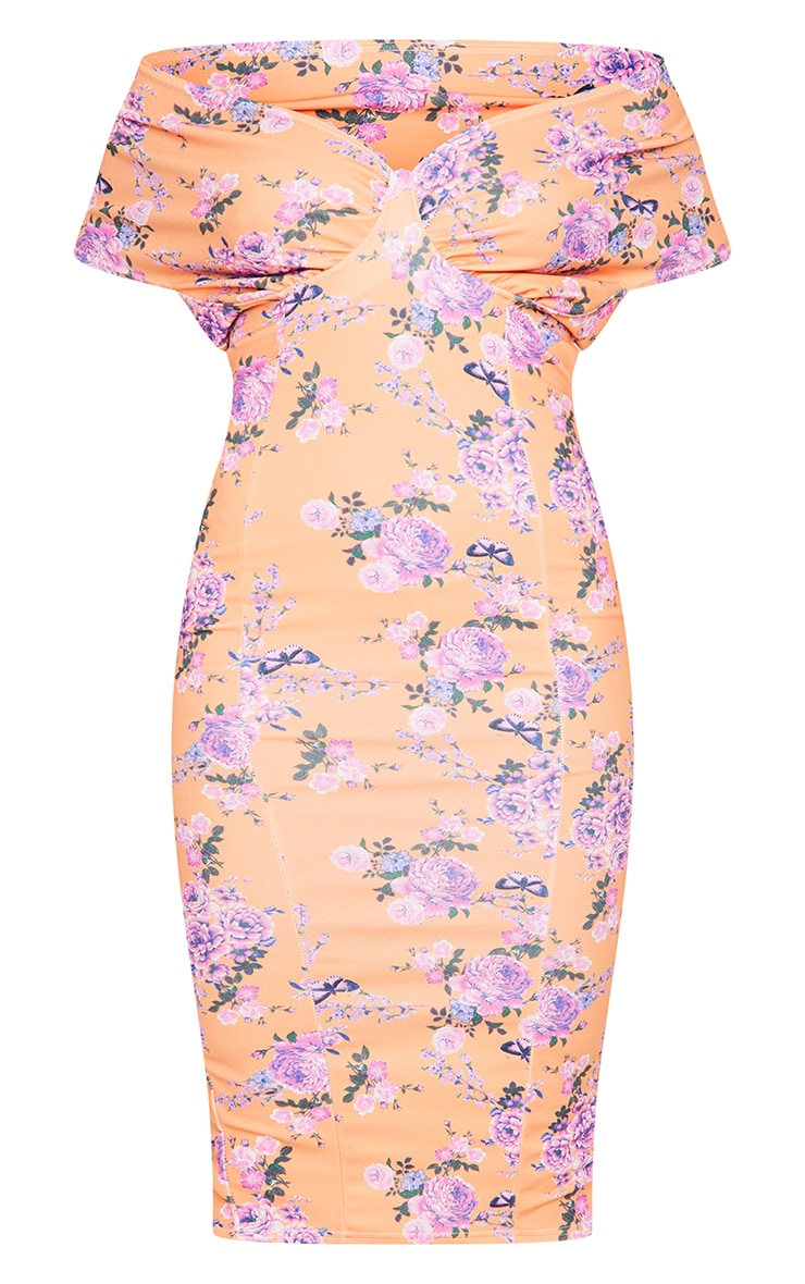 Peach Floral Bardot Drape Sleeve Midi Dress 5